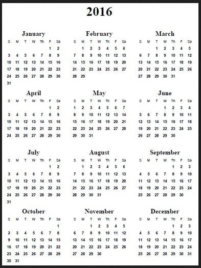 12 Months Calendar