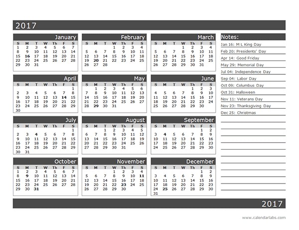 2017 12 Month Calendar Template e Page Free Printable