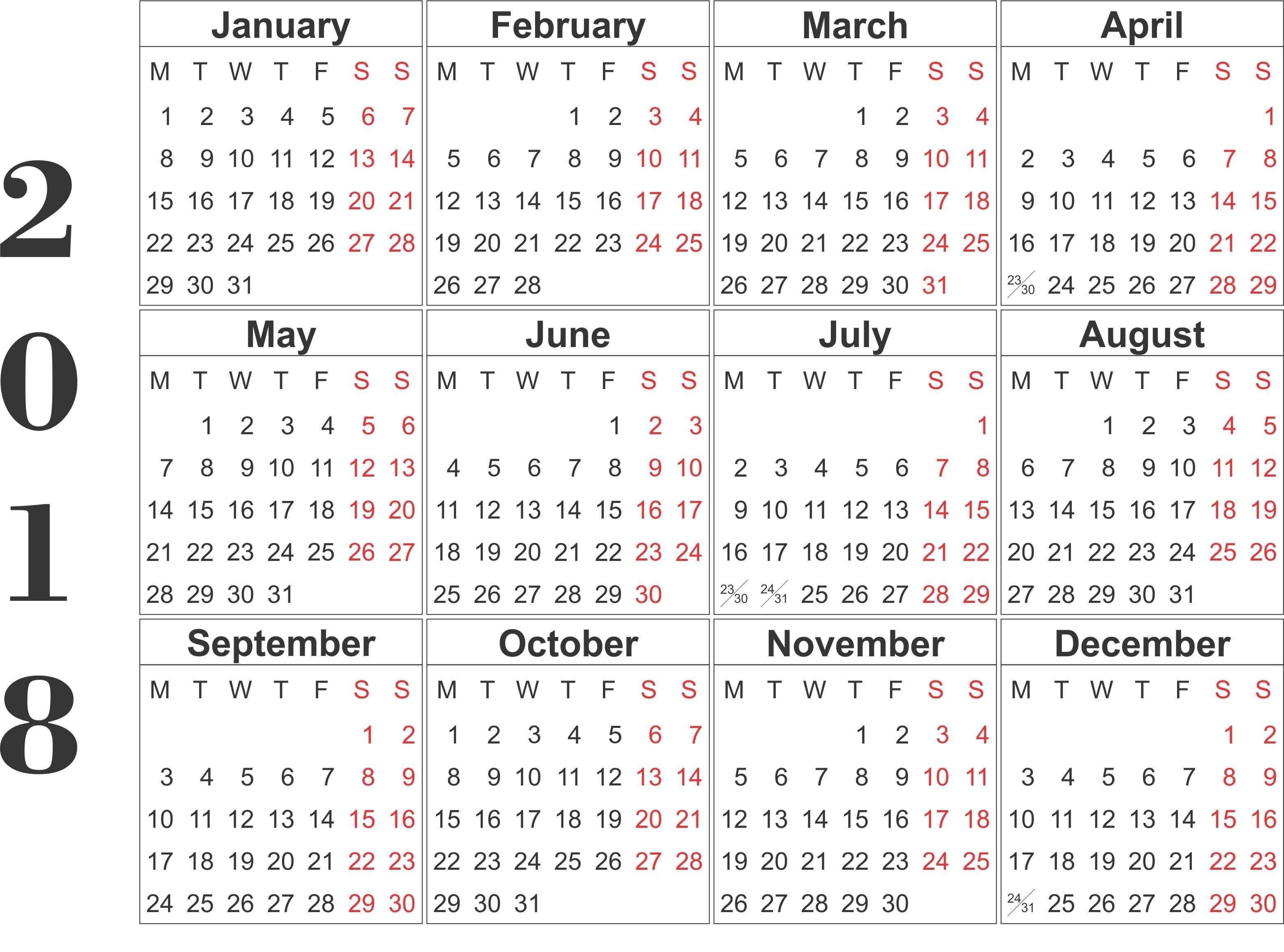 12 Months Calendar Printable