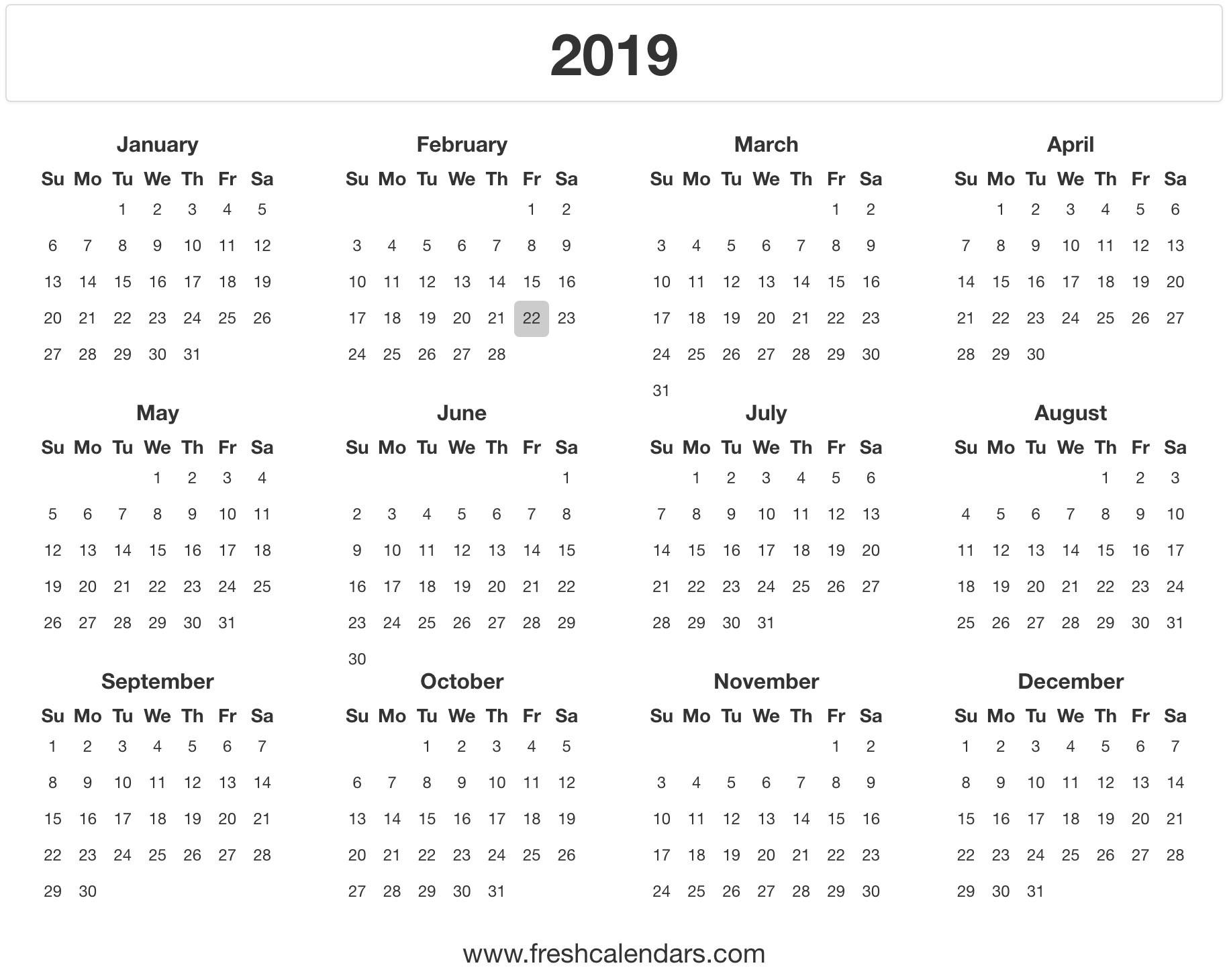 2019 Calendar Holidays Printable 2019 Calendar