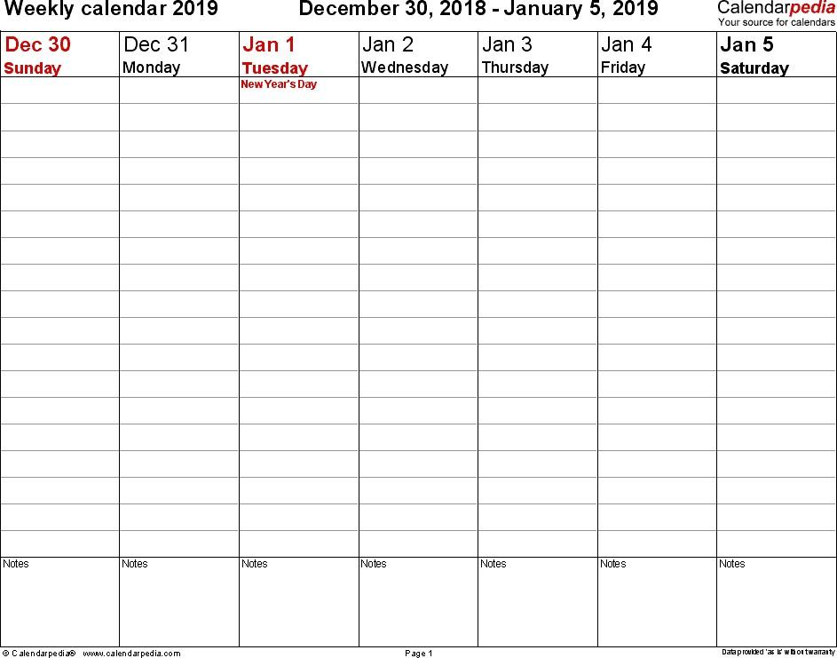 Weekly calendar 2019 for PDF 12 free printable templates