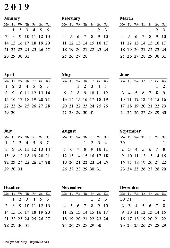 2019 Calendar Printable with Holidays Printable Calendar 2019 – Download 2019 Calendar Printable