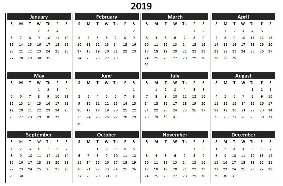 2019 Calendar Printable Yearly 2019 E Page Printable Calendar Download