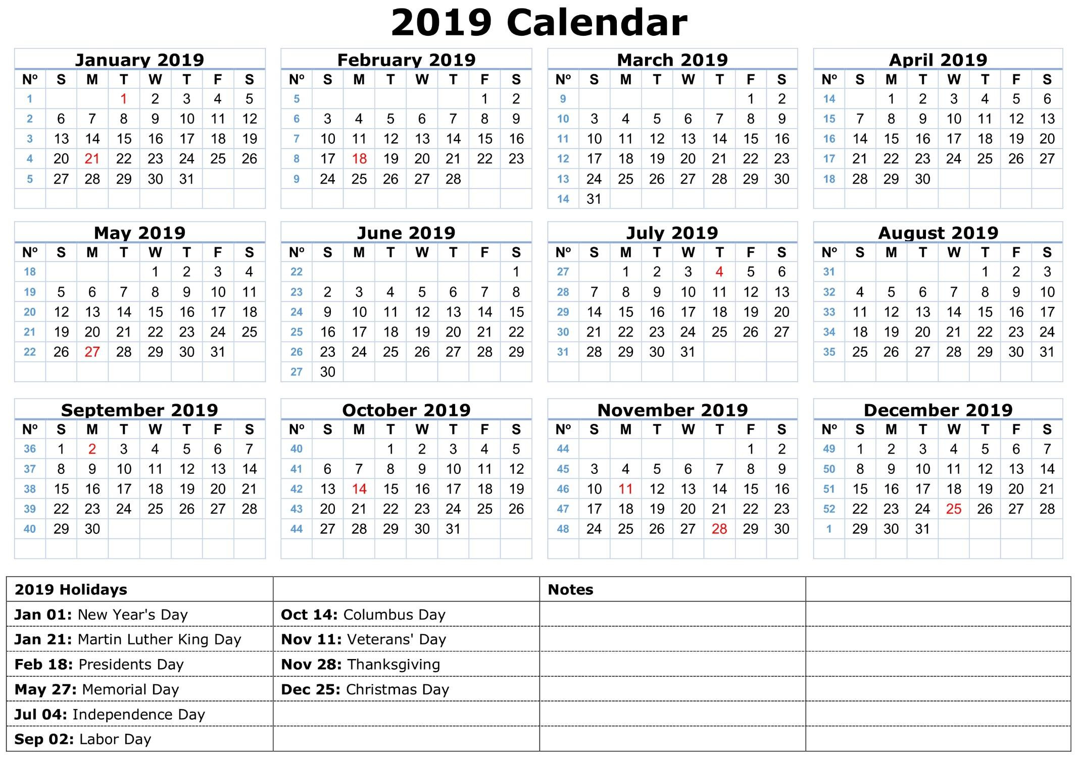 2019 Calendar with Federal Holidays Printable 2019 Calendar Amazonaws