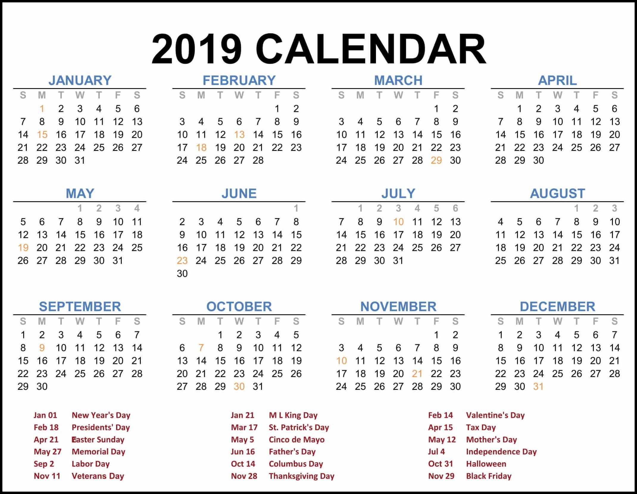 2019 Calendar Printable 12 Month Calendar on e Page
