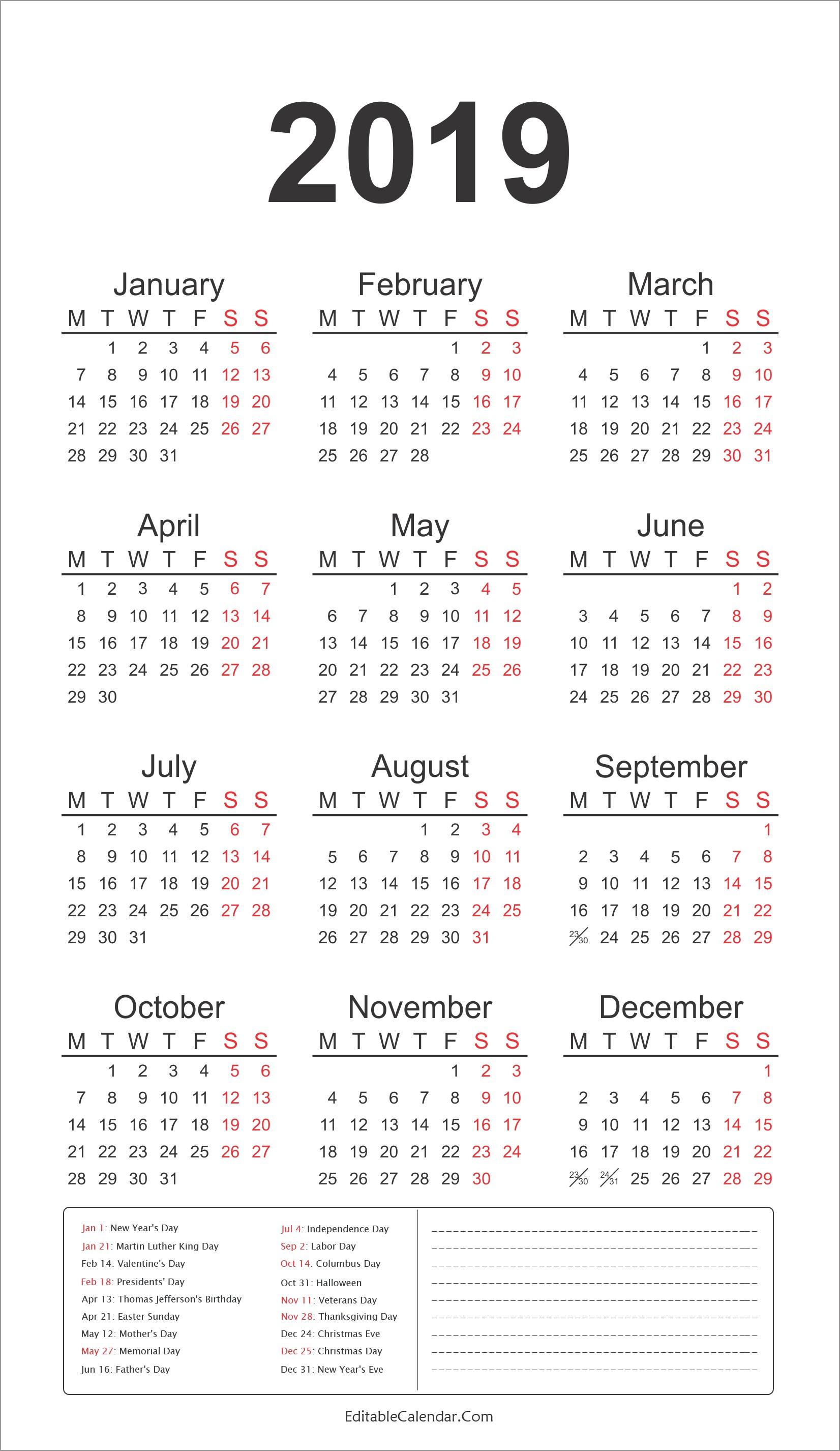 2019 Calendar with Federal Holidays Printable