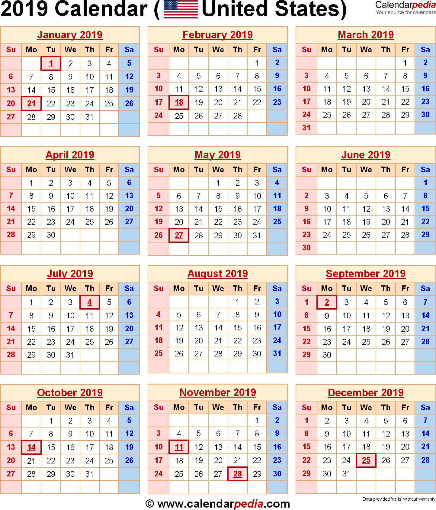 2019 Calendar with Federal Holidays & Excel PDF Word templates