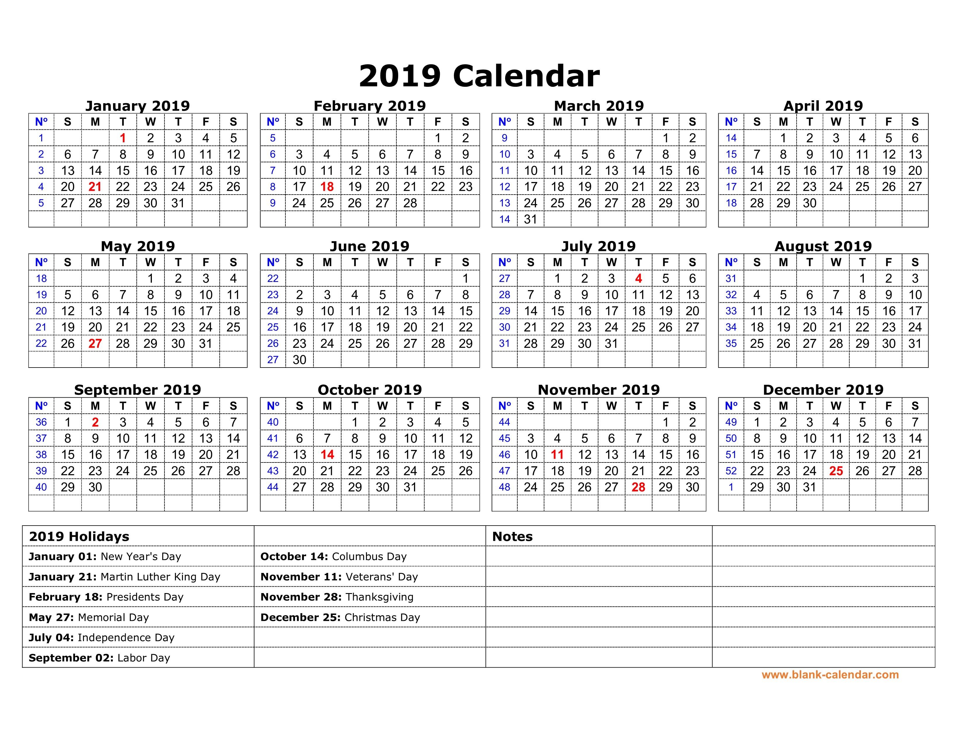 2019 Calendar with Federal Holidays Printable Us National Holidays 2019
