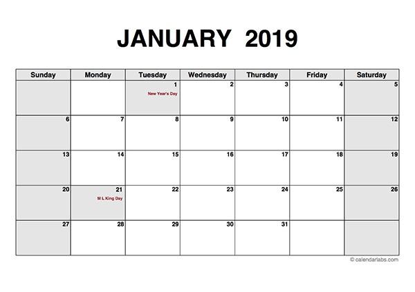 2019 Monthly Calendar PDF Free Printable Templates
