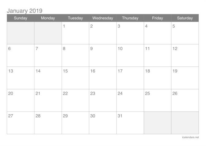 2019 Monthly Calendar Printable Pdf 2019 Printable Calendar Pdf or Excel Icalendars