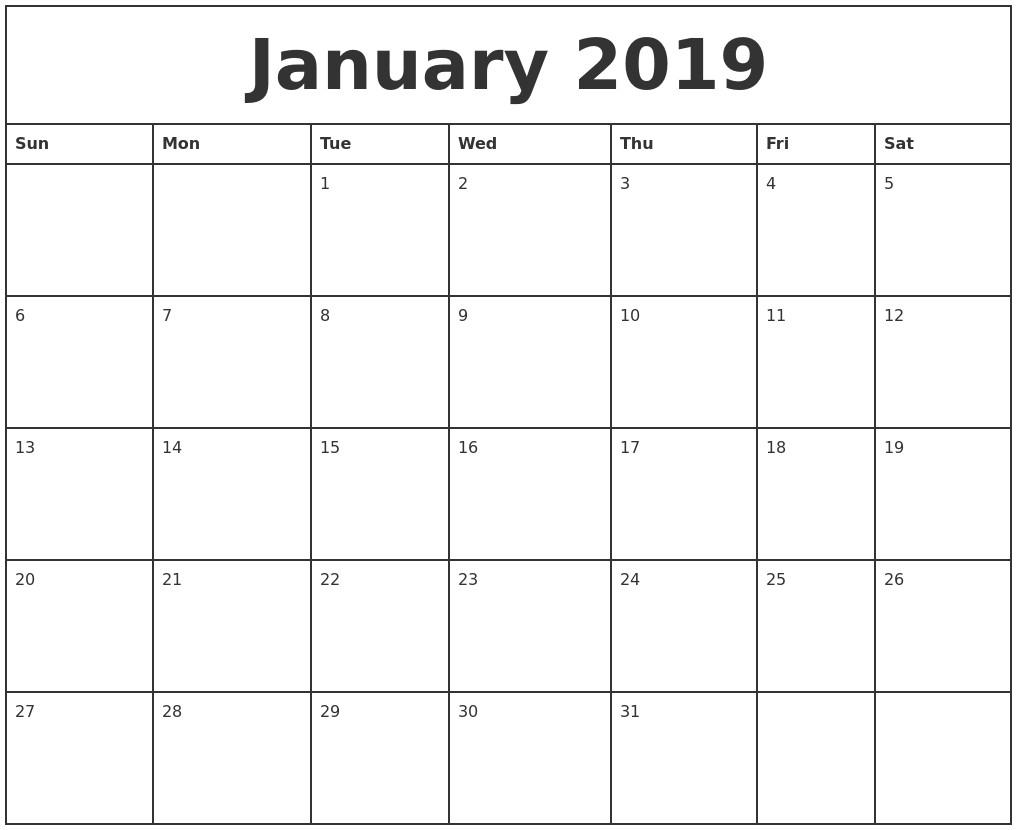 2019 Monthly Calendar Printable Pdf January 2019 Printable Monthly Calendar