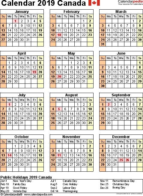 2019 Printable Calendar Canada 2019 Calendar Canada