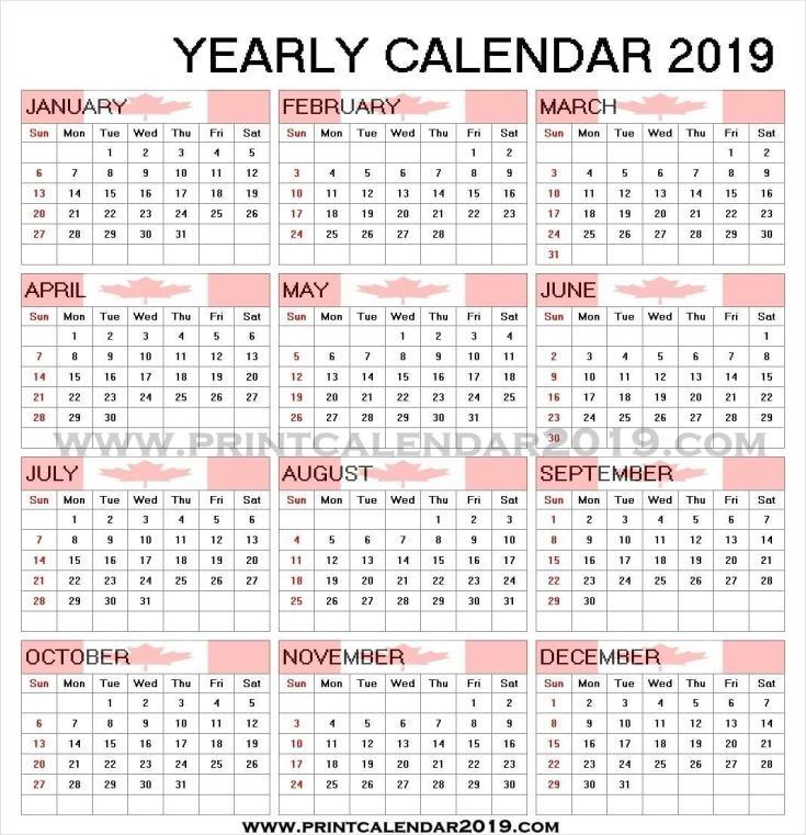 2019 Calendar Canada Printable