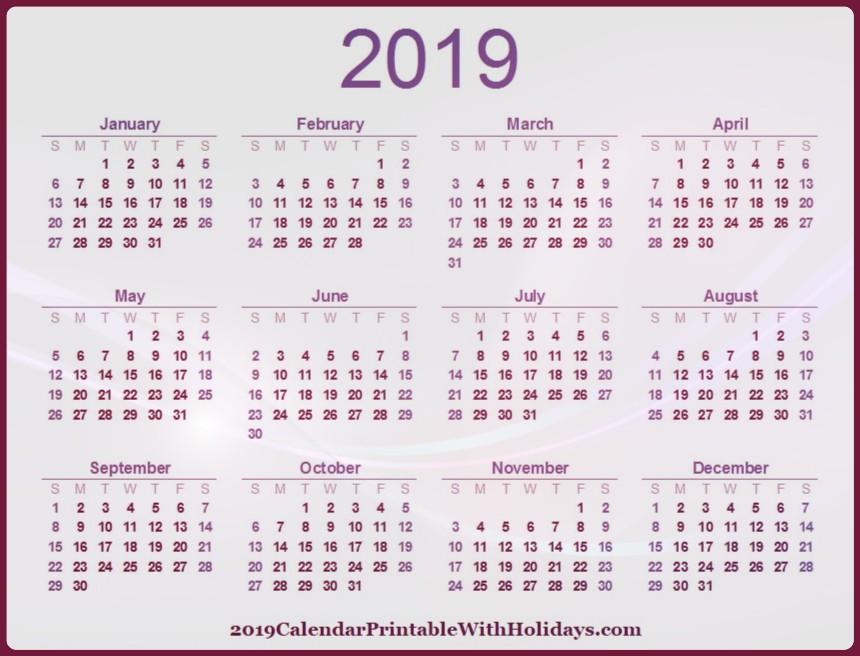 2019 Printable Calendar Canada