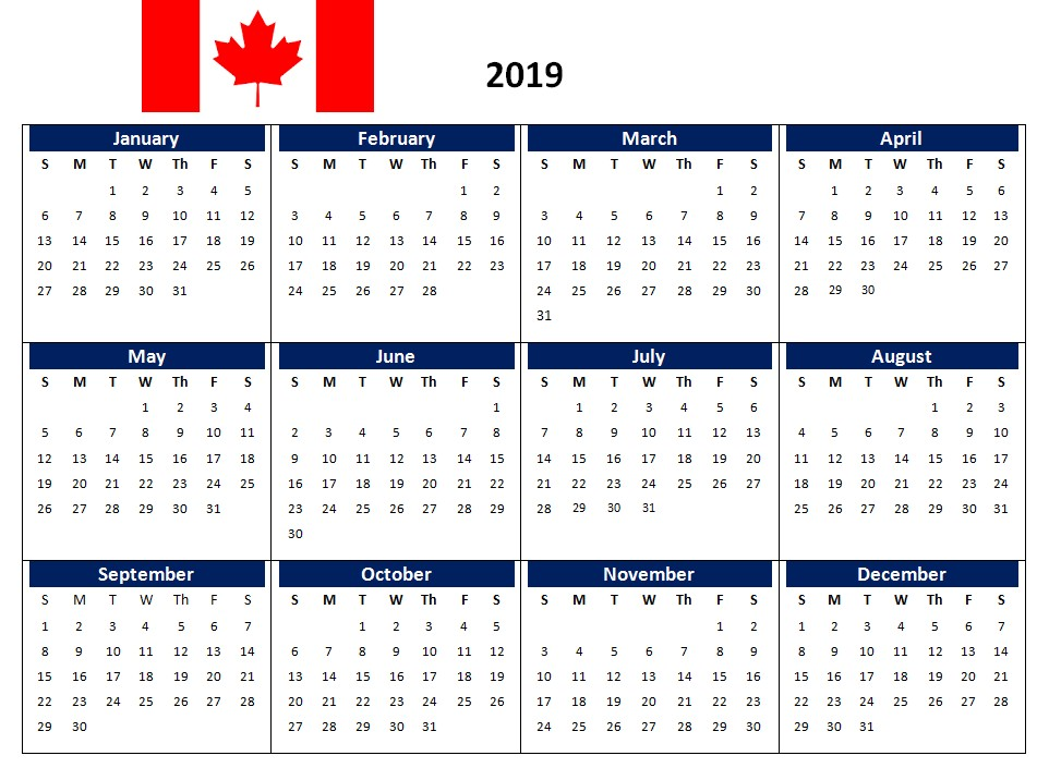 2019 Printable Calendar Canada 2019 Canada Printable Calendar with Holidays