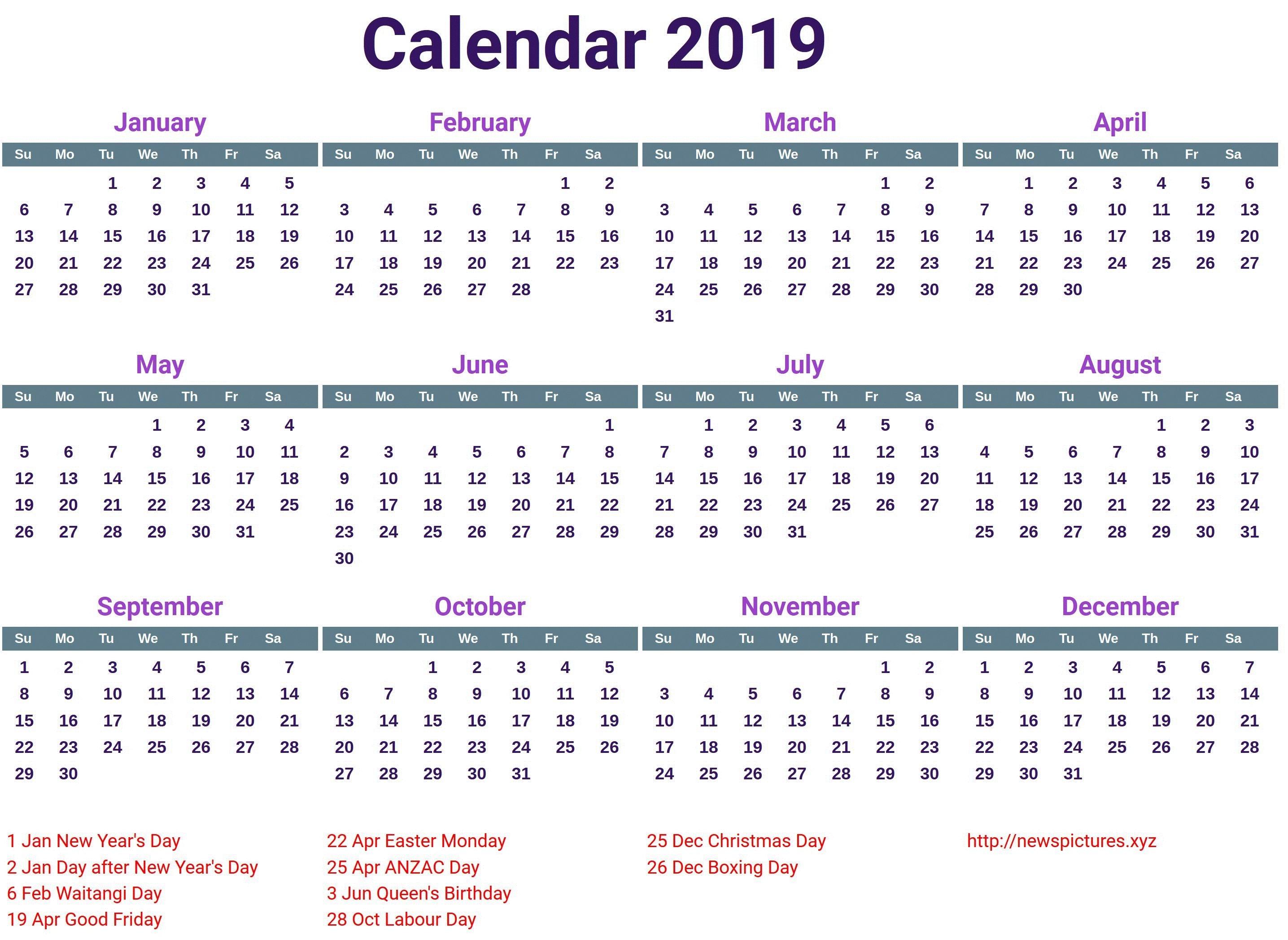 2019 Holiday Calendar Canada calendar2019
