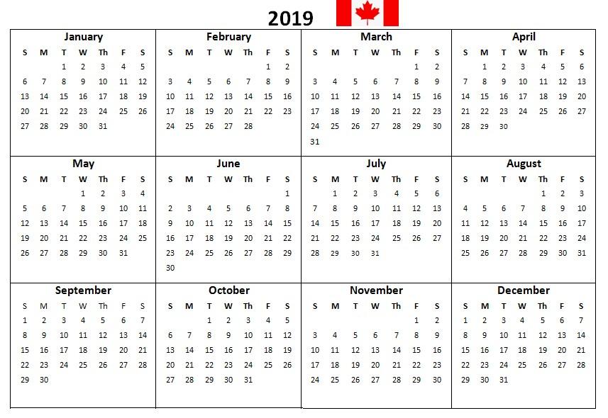 2019 Printable Calendar Canada Canada 2019 Printable Calendar Download