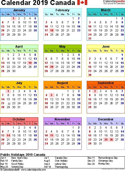 Canada Calendar 2019 Free Word Calendar Templates