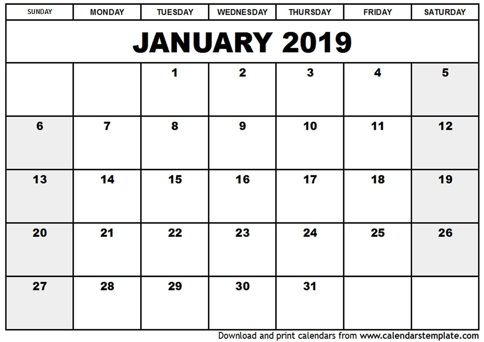 2019 Printable Calendar Template January 2019 Calendar Template