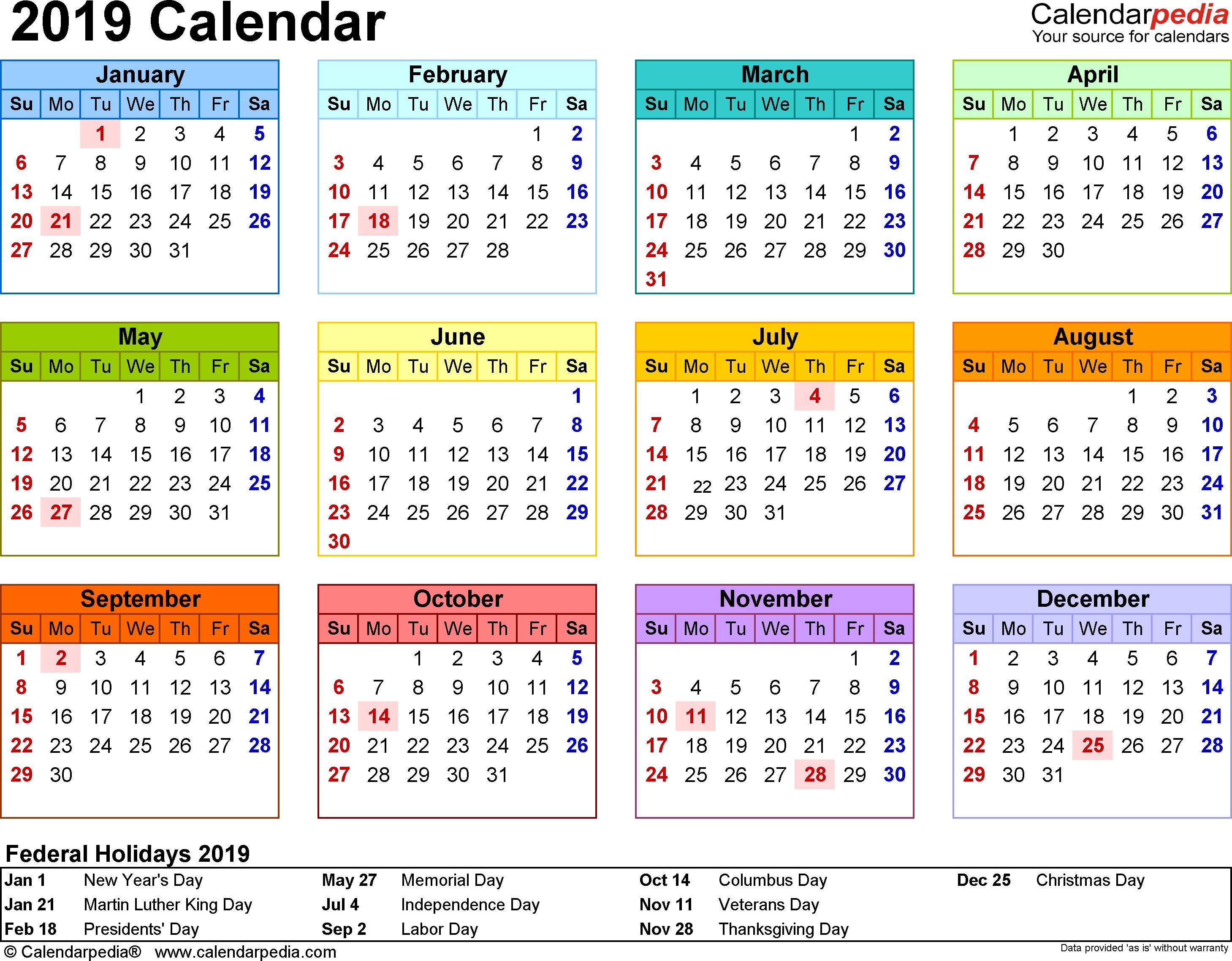 2019 Printable Calendar Templates 2019 Calendar Pdf 17 Free Printable Calendar Templates