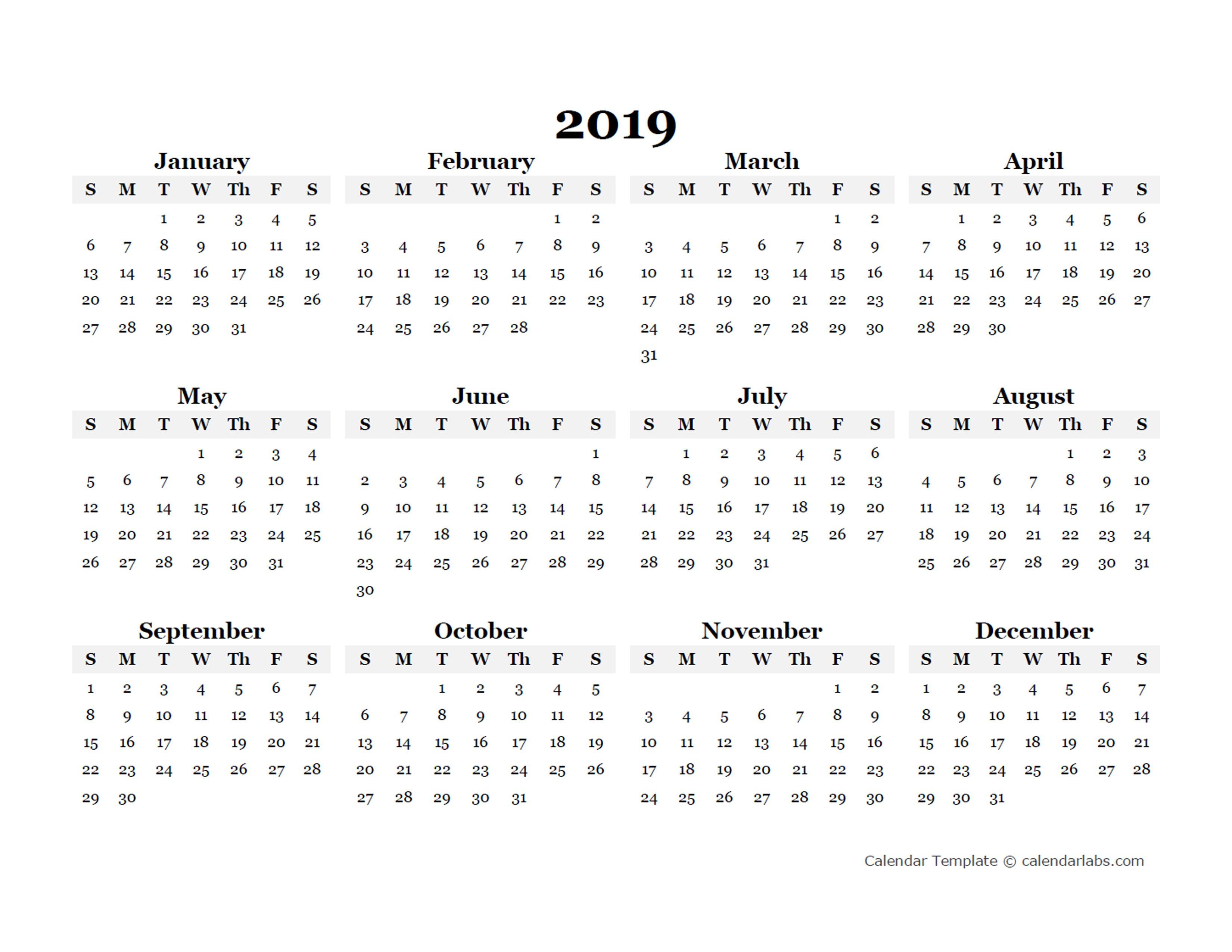 2019 Printable Calendar Templates 2019 Yearly Blank Calendar Template Free Printable Templates