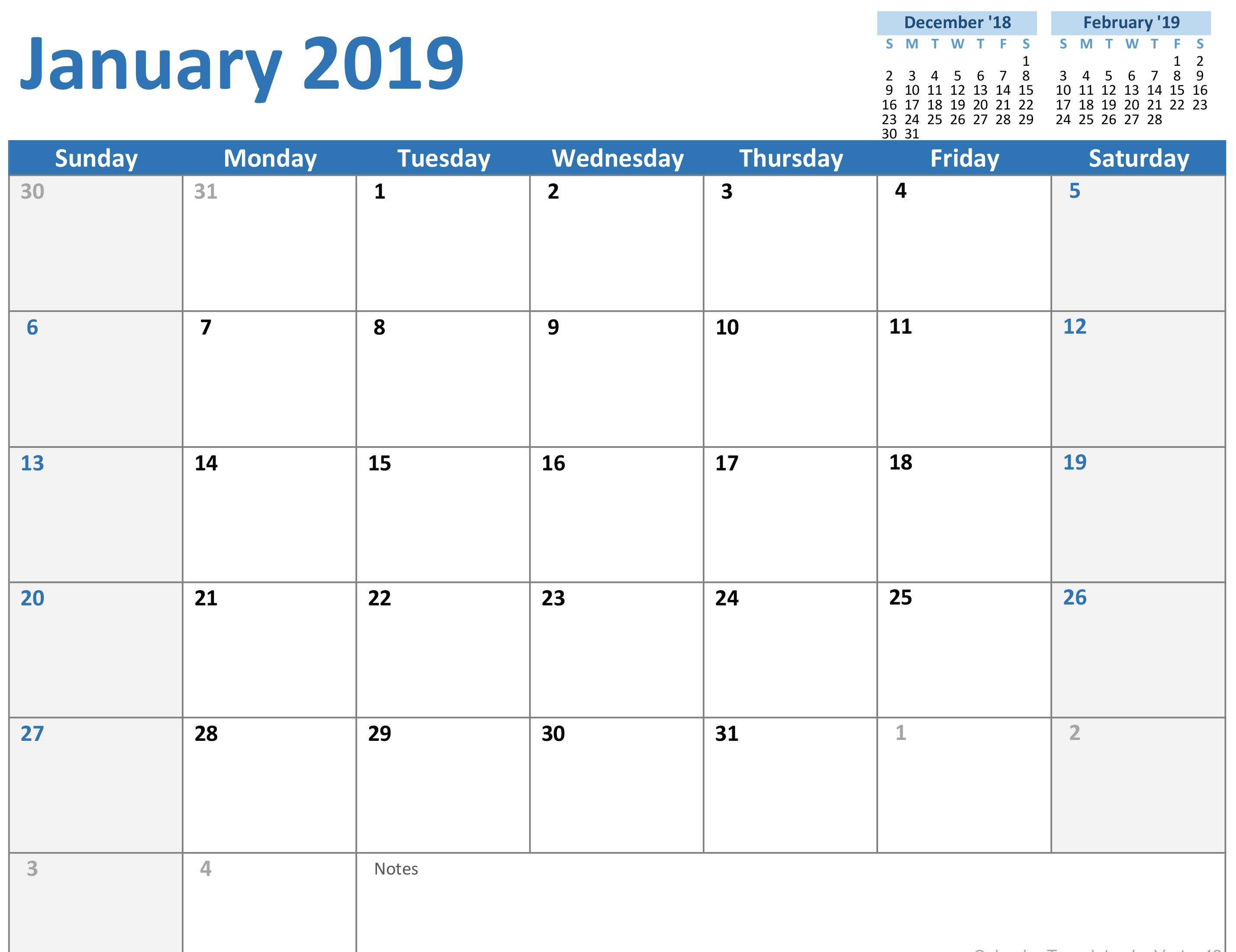 2019 Printable Calendar Templates 250 Free January 2019 Calendar Printable Templates