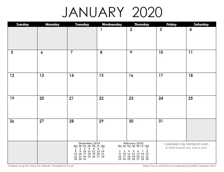 2020 Calendar Monthly Printable 2020 Calendar Templates and