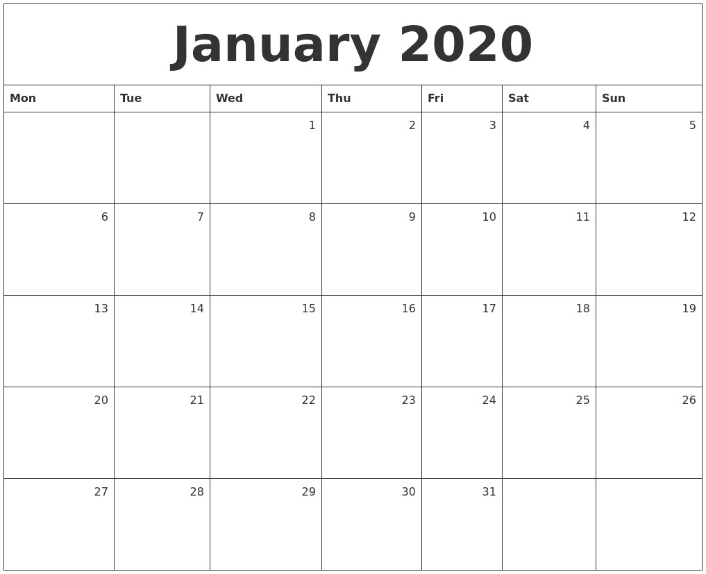 January 2020 Monthly Calendar