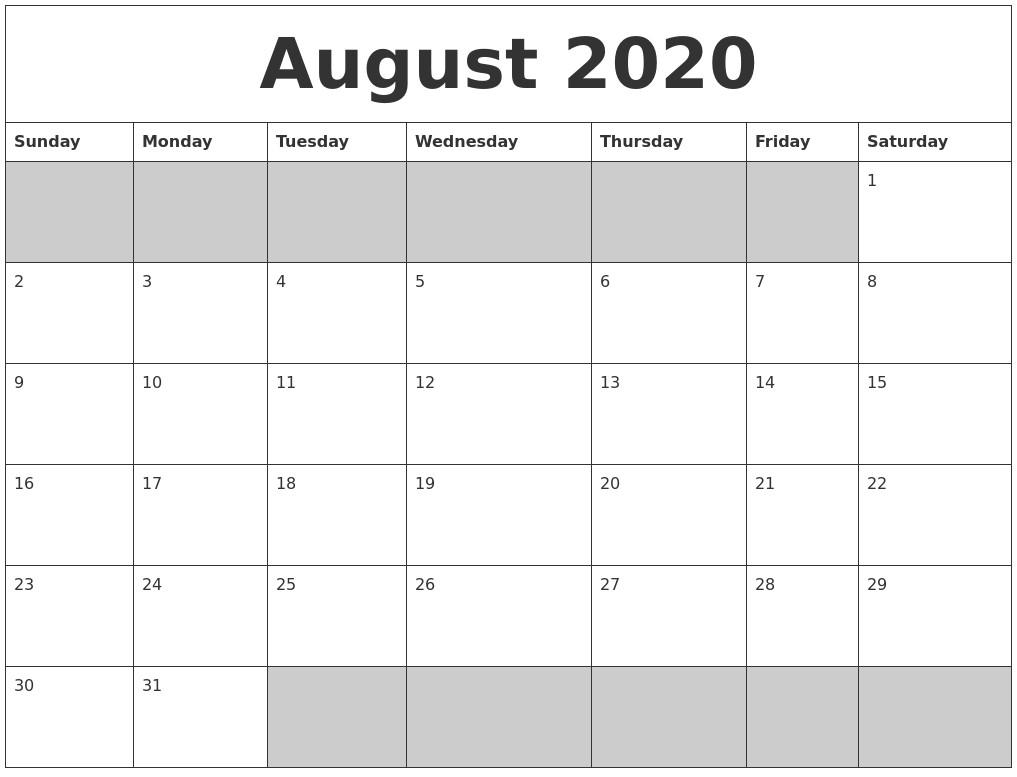 2020 Calendar Printable Blank August 2020 Blank Printable Calendar