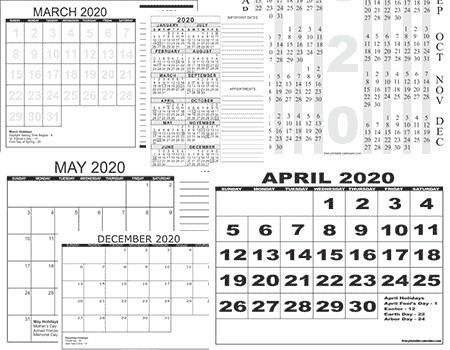 2020 Large Printable Calendar 2020 Free Printable Calendars Free Printable Calendars