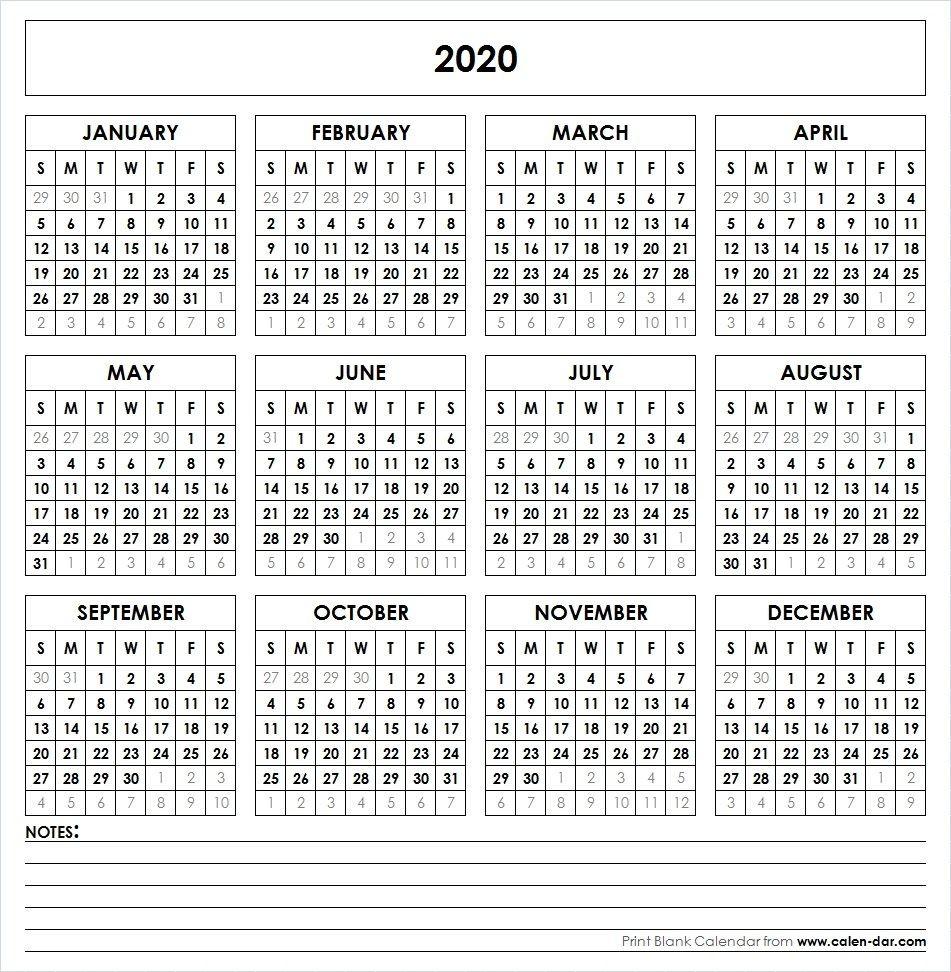 2020 One Page Calendar Printable 2020 Printable Calendar Yearly Calendar