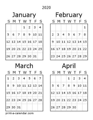 2020 One Page Calendar Printable Download 2020 Printable Calendars