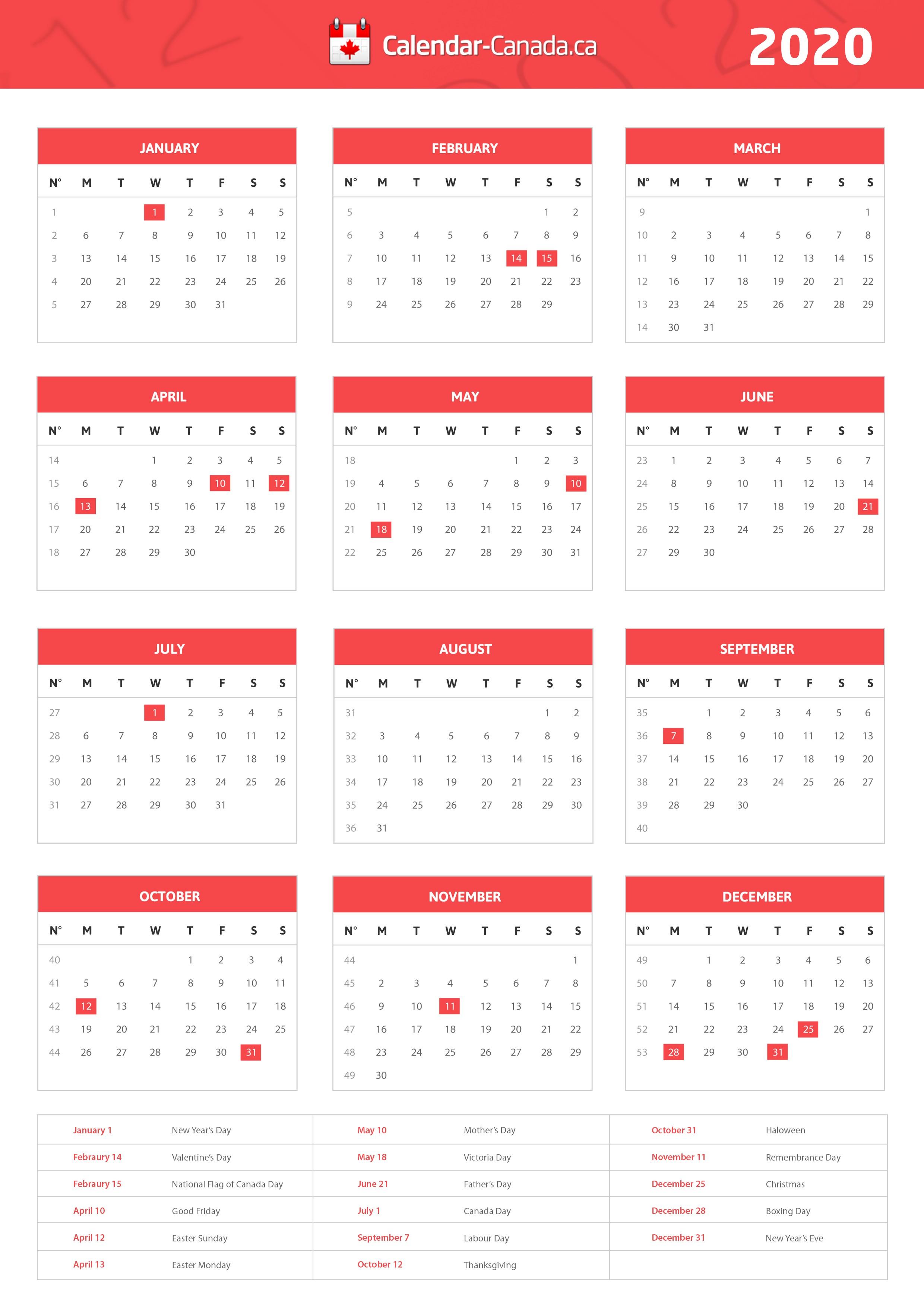 2020 Printable Calendar Canada Paid Holidays In Canada 2017