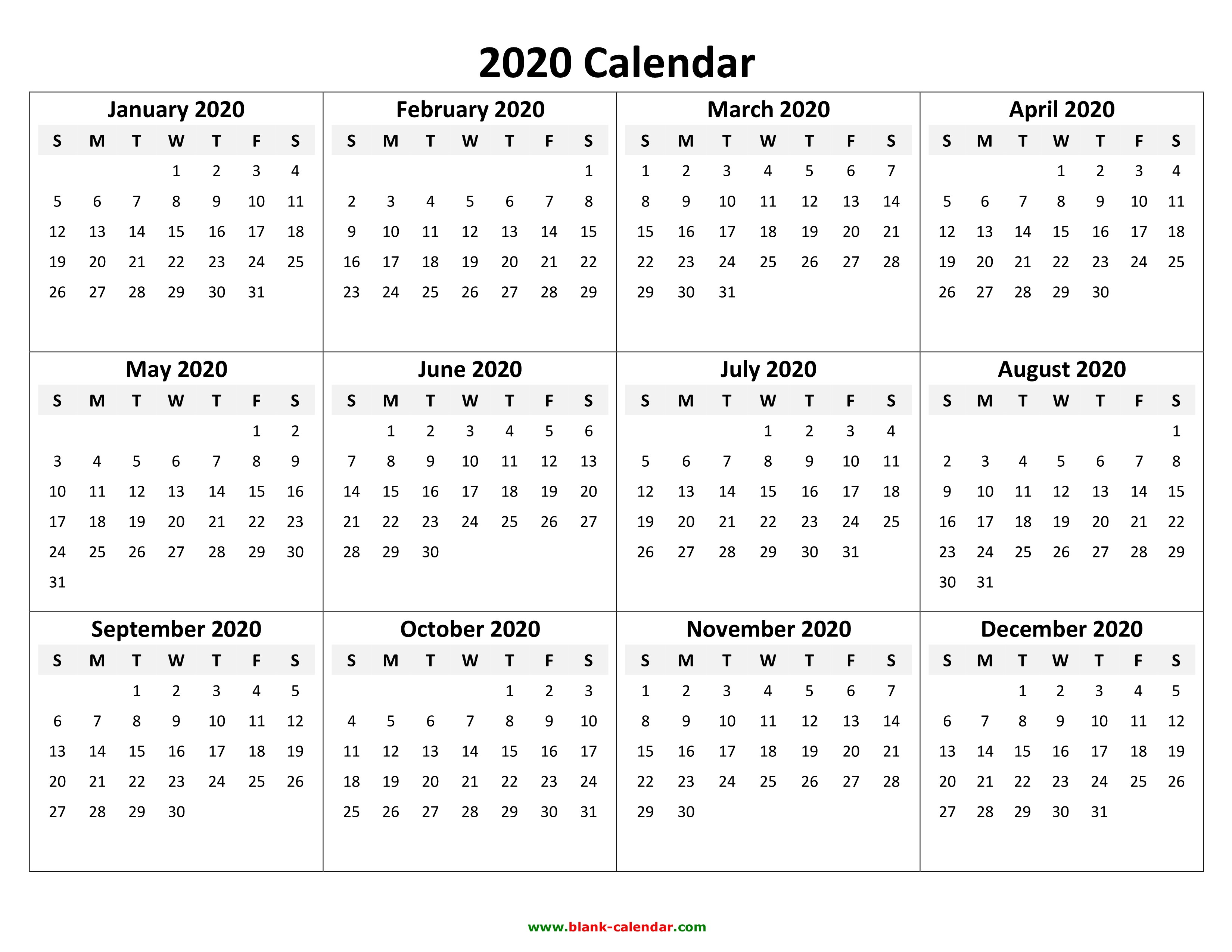 2020 Yearly Calendar Printable Landscape Yearly Calendar 2020