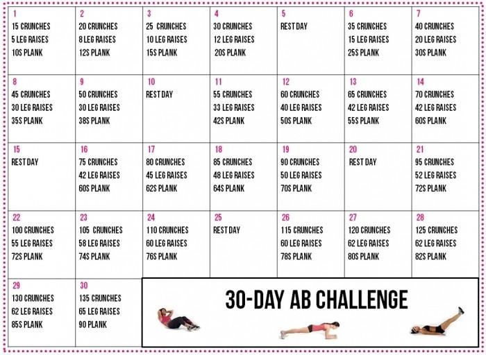 30 Day Ab And Squat Printable Calendar