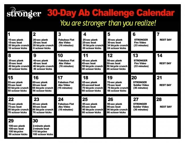 30 Day Ab Challenge Calendar Printable