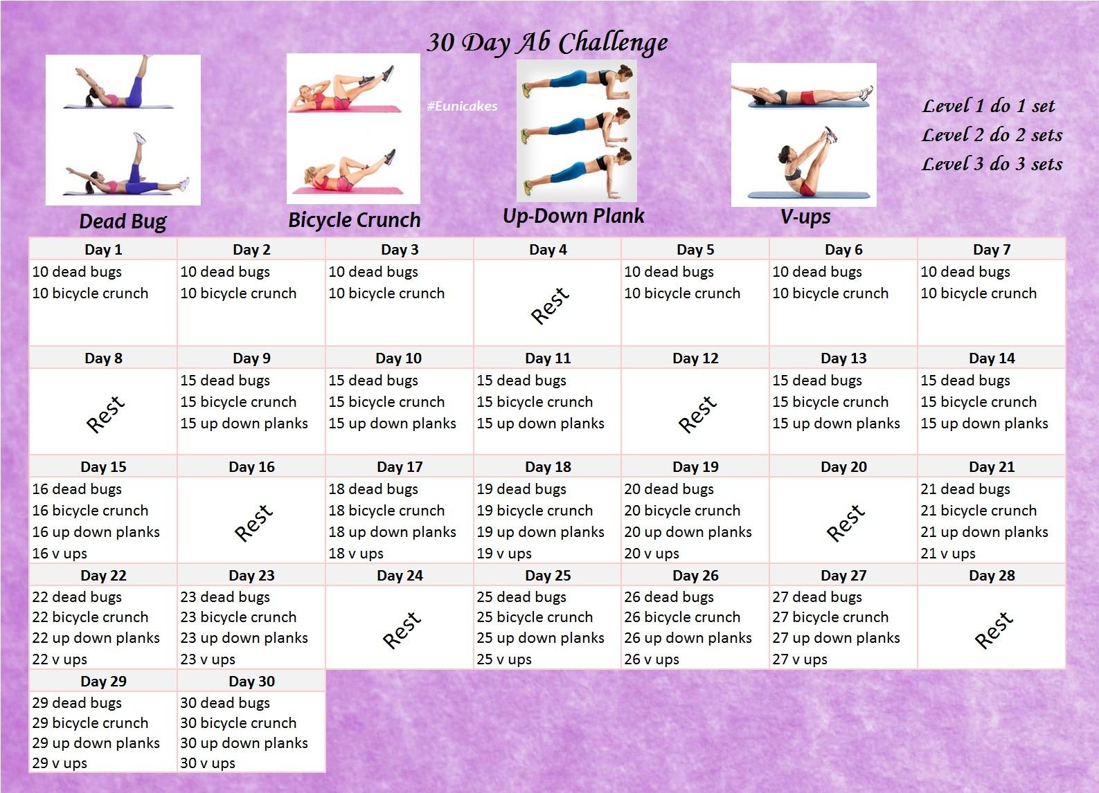 30 Day Ab Challenge Printable Calendar Fitness Challenge 30 Day Abs Calendar