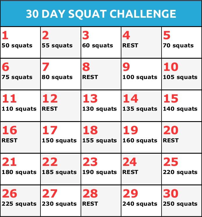 30 Day Squat Challenge Calendar Printable – Calendar