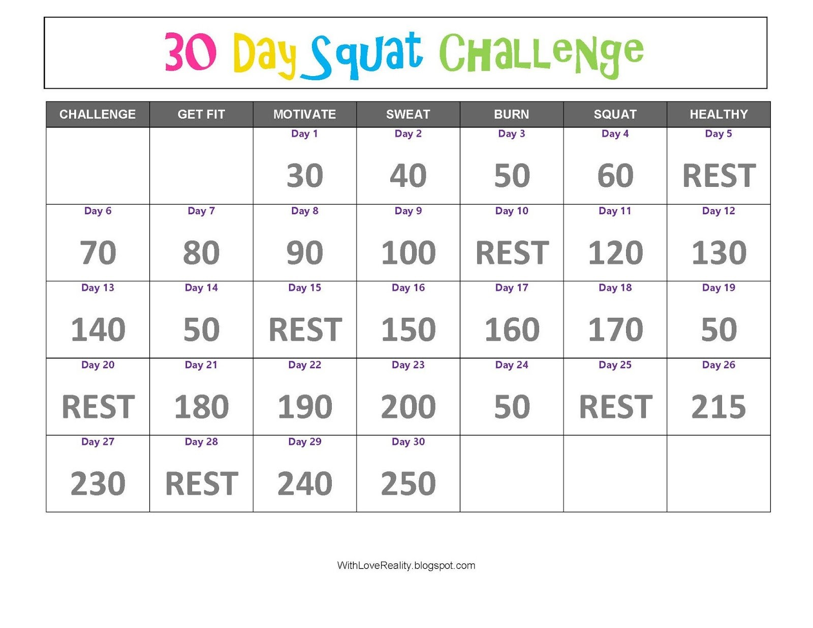 With Love Reality 30 Day Squat Challenge