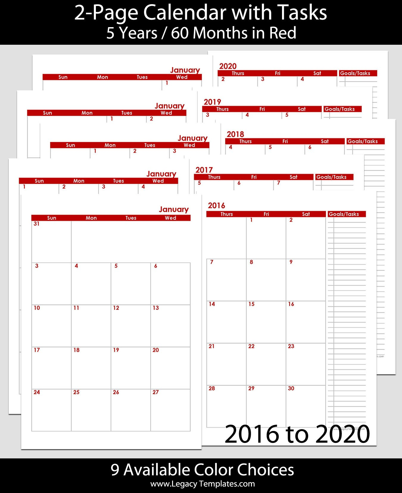 2016 thru 2020 60 Months 2 Page Calendar – A5