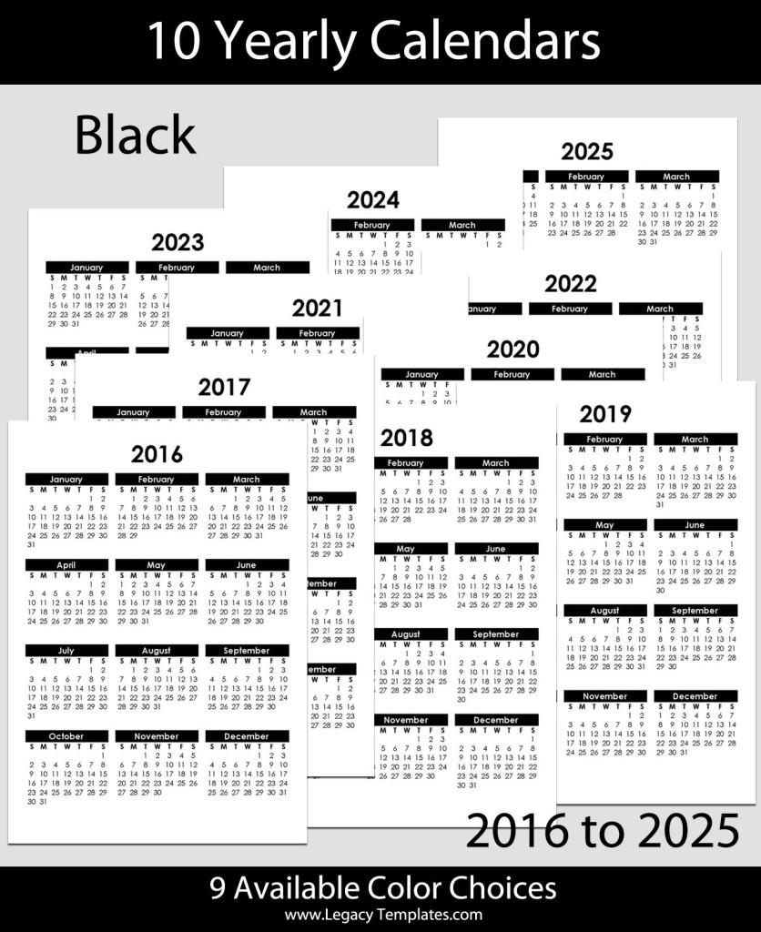A5 Printable Calendar 2020 2016 to 2025 Yearly Calendar – A5