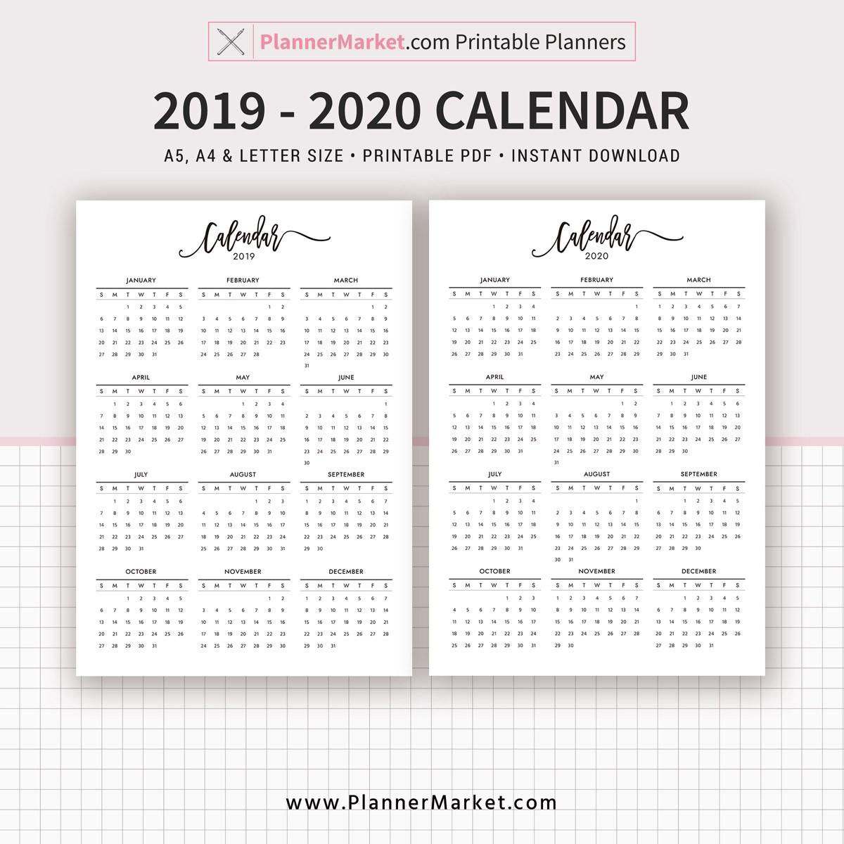 2019 2020 Yearly Calendar Printable Filofax A5 A4