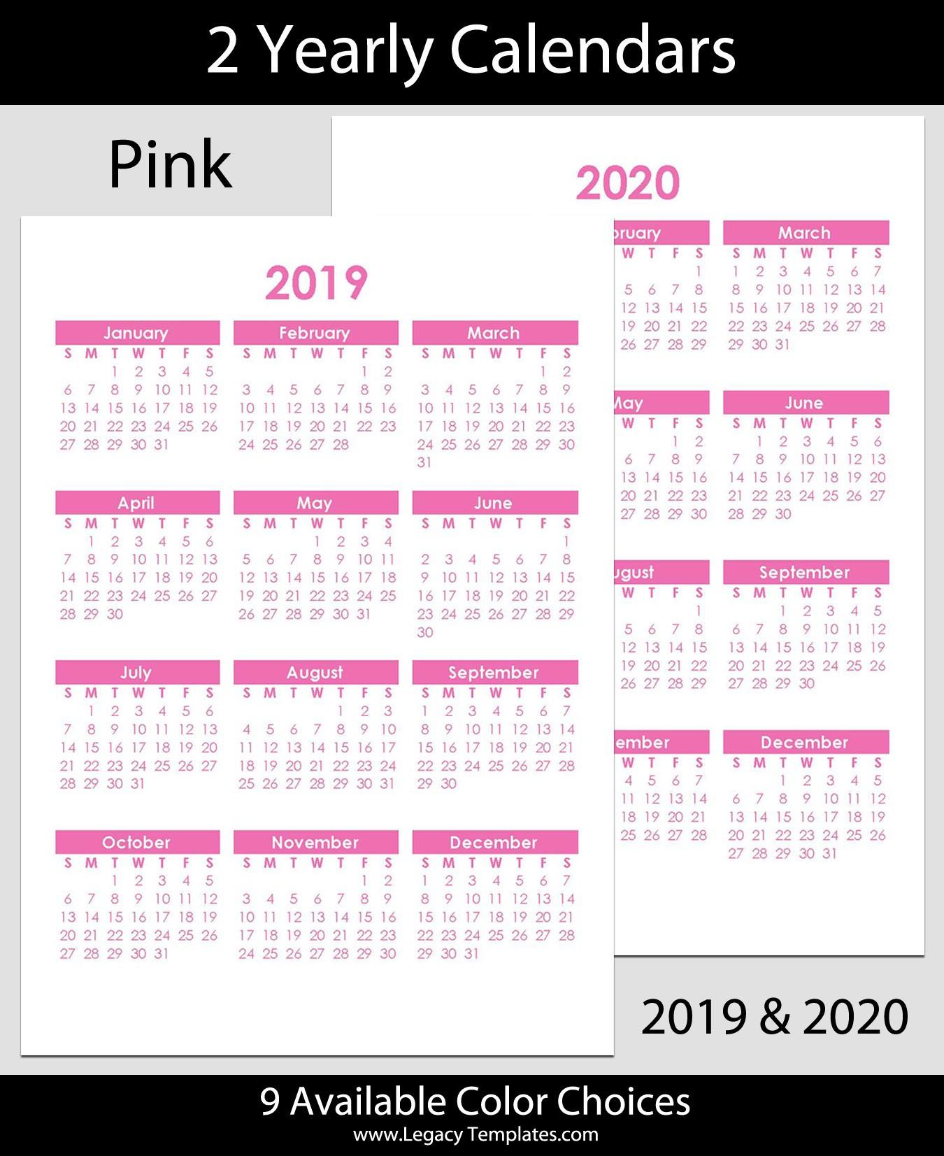 2019 & 2020 Yearly Calendar – A5