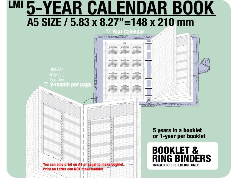 A5 Printable Calendar 2020 A5 5 Year Calendar Book 2018 2019 2020 2021 2022 Inserts