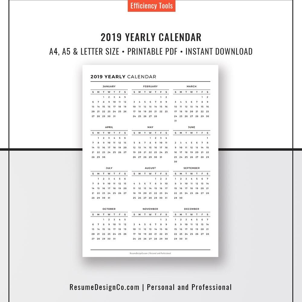 A5 Printable Calendar 2020 Planner Refills 2018 & 2019 Yearly Calendar A4 A5