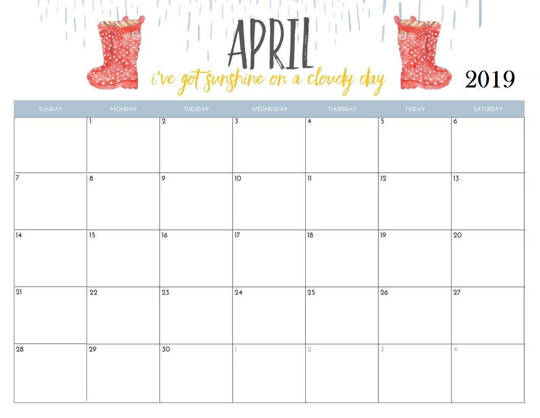 April Printable Calendar 2019 April 2019 Calendar