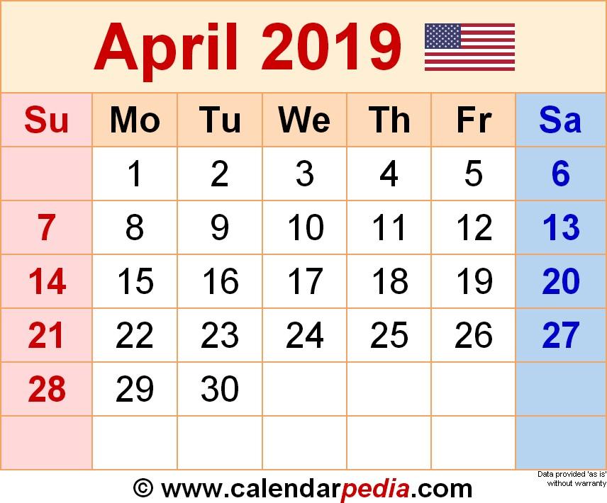 April Printable Calendar 2019 April 2019 Calendars for Word Excel & Pdf