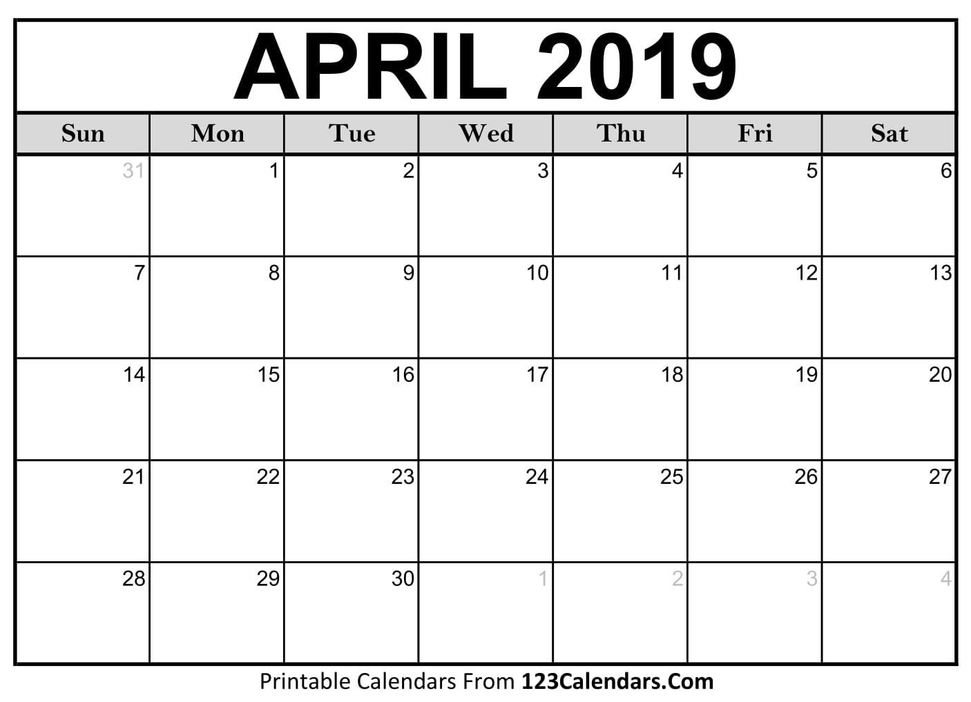 Printable April 2019 Calendar Templates 123Calendars
