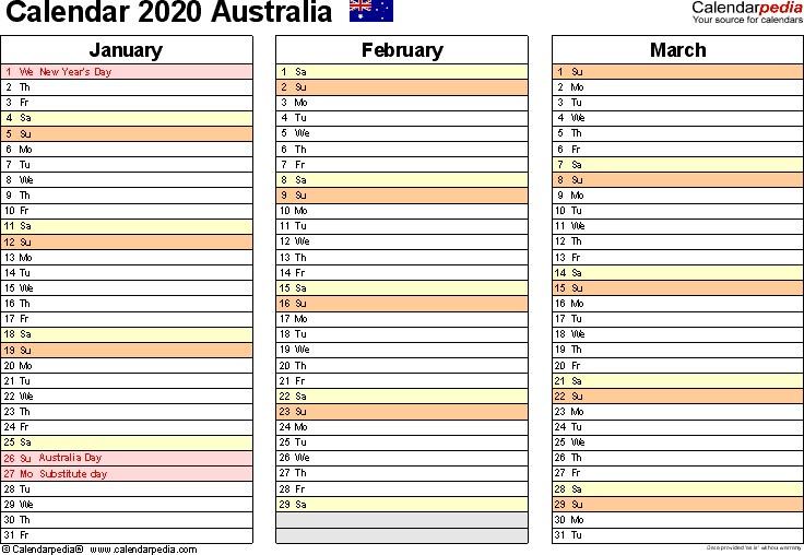 Australia Calendar 2020 free printable PDF templates