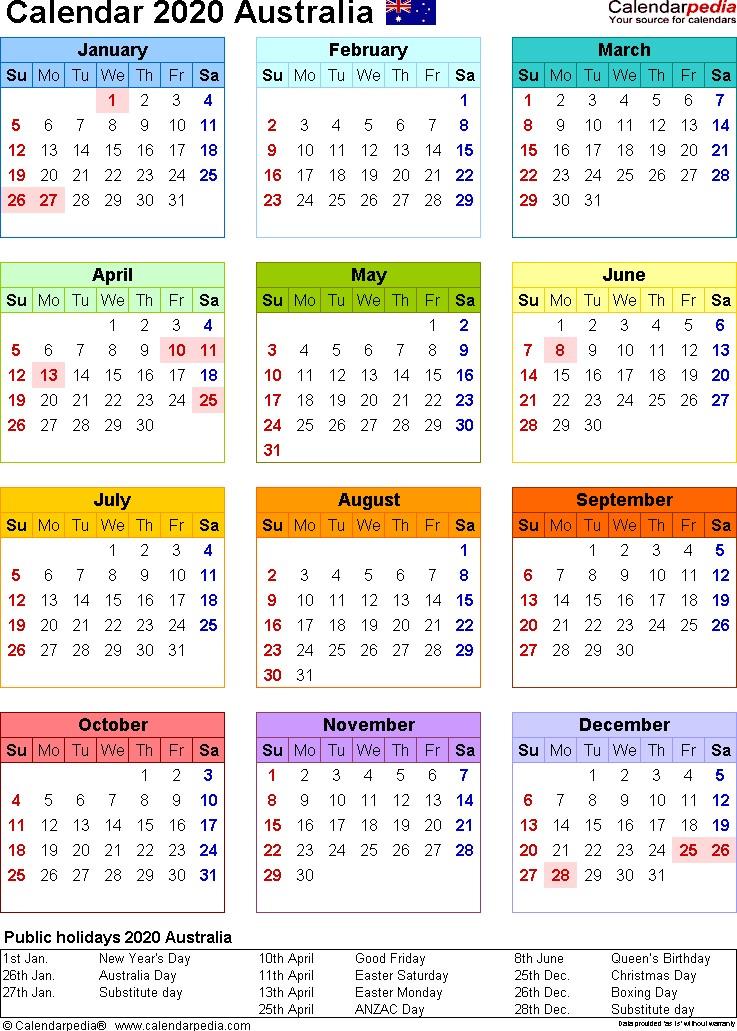 Australian Calendar 2020 Printable